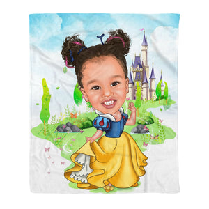 Custom Fleece Blanket - Snow White personalized caricature family portrait unique funny gifts for friends besties couples mothers day his and hers anniversary gifts birthday present