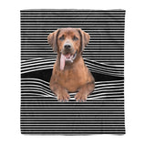 Redbone Coonhound Stripe Fleece Blanket, Unique Gifts For Dog Lovers, Best Friend, Parents