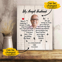 Load image into Gallery viewer, Custom Personalized photo name canvas prints painting wall art Memorial gift idea for him boyfriend husband her girlfriend wife couple - My Angel Husband TY1112