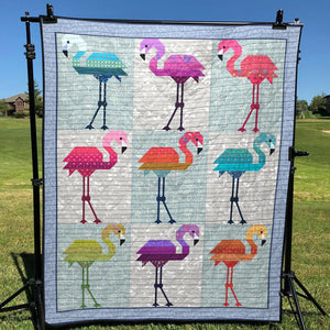 Colorful Flamingos Quilt Blanket