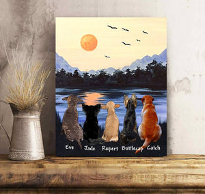 Custom Dog Canvas Mountain View - Personalized dog & owner canvas, pet lovers, mom and dad gift