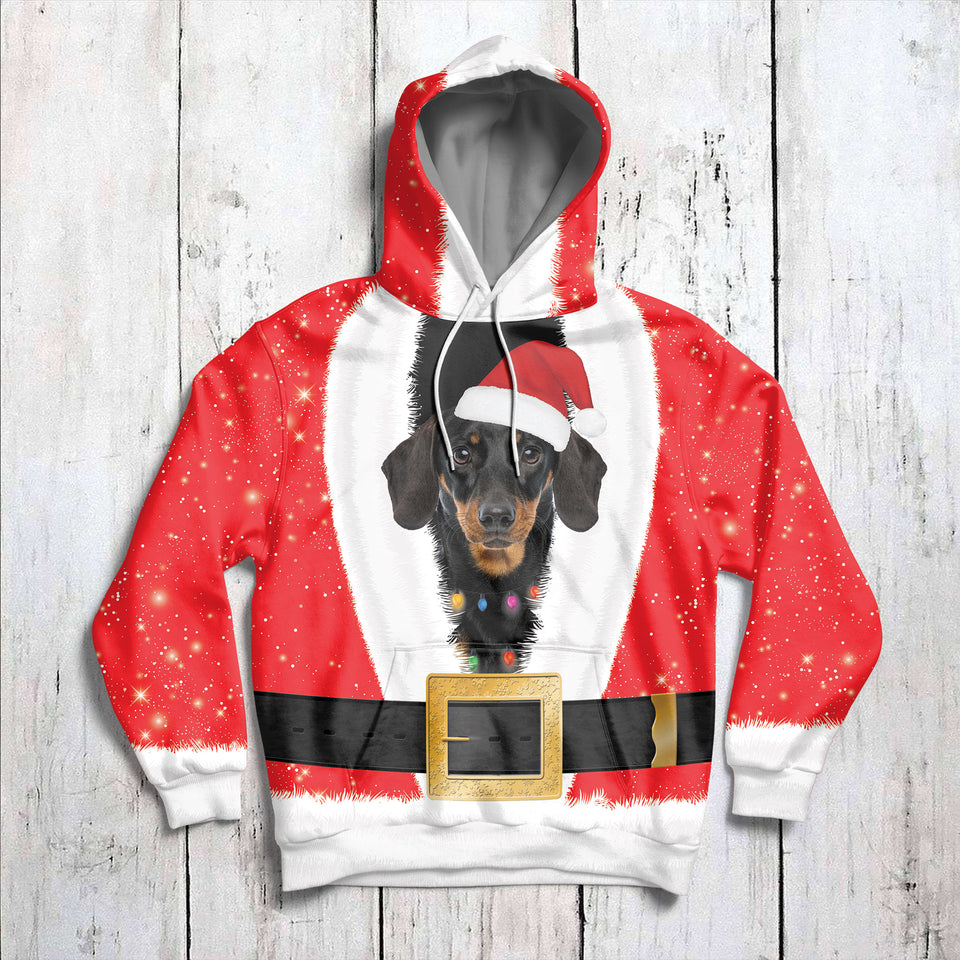 Santa Claus With Dachshund G51019 - All Over Print Unisex Hoodie