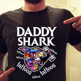 Custom personalized funny grandpa & dad Tee shirts printing father's day, birthday gift for world's best dad - Daddy shark - PersonalizedWitch