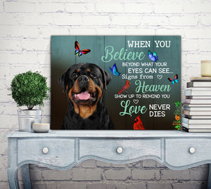 Custom personalized dog memorial photo to canvas Pet remembrance print wall art gift idea for dog mom dad pet lovers with pictures on - Dog's Love Never Dies - PersonalizedWitch
