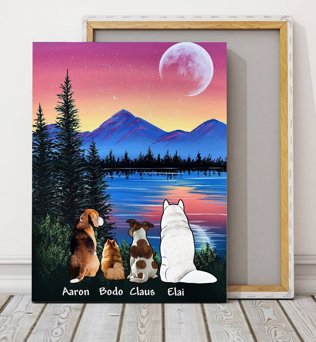 Custom personalized dog canvas print wall art Pet gift idea for dog mom dad pet lovers owner - Inside Your Heart, Mountain Sunset - PersonalizedWitch