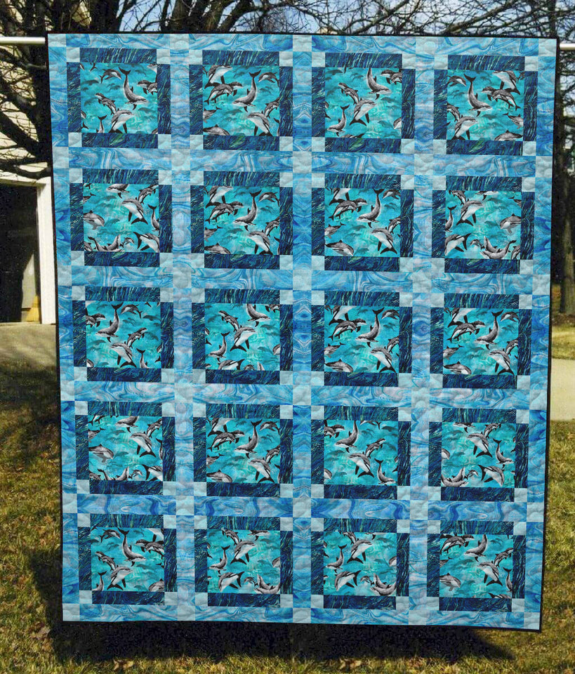 Dolphins Swimming Together Ocean - Quilt Blanket