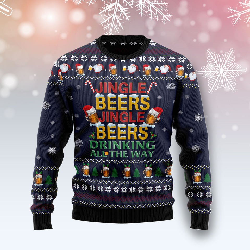 Drinking Beer All The Way TG51020 - Ugly Christmas Sweater