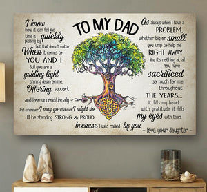 Custom Personalized To my Dad Canvas Father's day gift for him - From Daughter - PersonalizedWitch