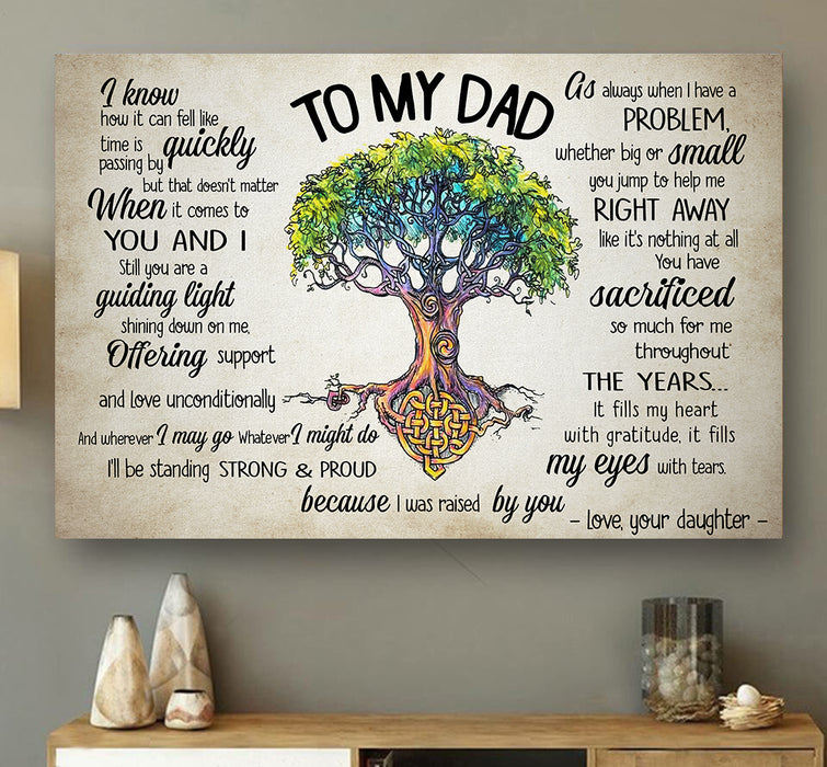 To my Dad Canvas Father's day gift for him unique father's day gift, meaningful fatherhood day presents, birthday gift for dad ideas from daughter & kids - PersonalizedWitch