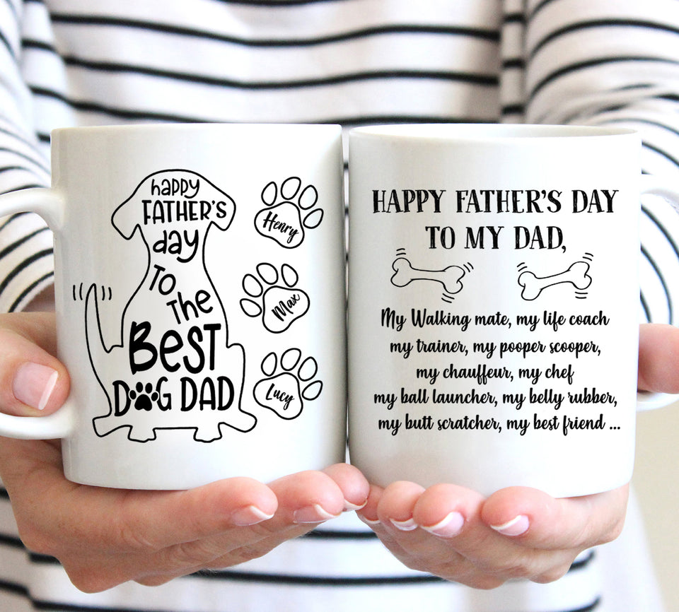 Happy Father's Day Dog Dad - Trending custom personalized mug, father's day birthday mug family gift