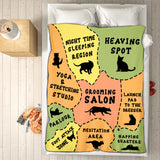 A Cat's Map Of the Bed Fleece Blanket - Cat gifts, black cat gift ideas for mom presents for special woman gift