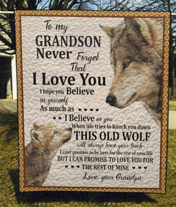 Grandpa and Grandson, Wolf - Quilt Blanket