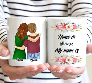 Custom personalized coffee mugs Mother's day gifts idea, Christmas, birthday presents for mom from daughter - Home Is Wherever My Mom Is - PersonalizedWitch