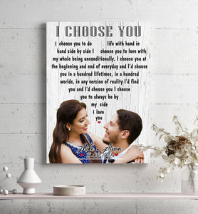 Custom personalized couple canvas prints wall art husband and wife gifts idea, Christmas, wedding anniversary birthday presents for loved one - I Choose You - PersonalizedWitch