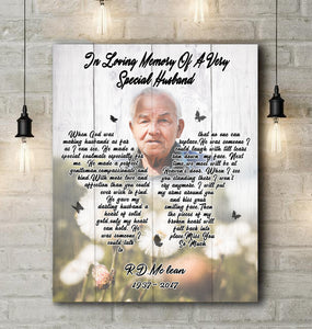In Loving Memory of Very Special Husband - Custom Photo Canvas Print Family Gift, Memorial Gift Idea