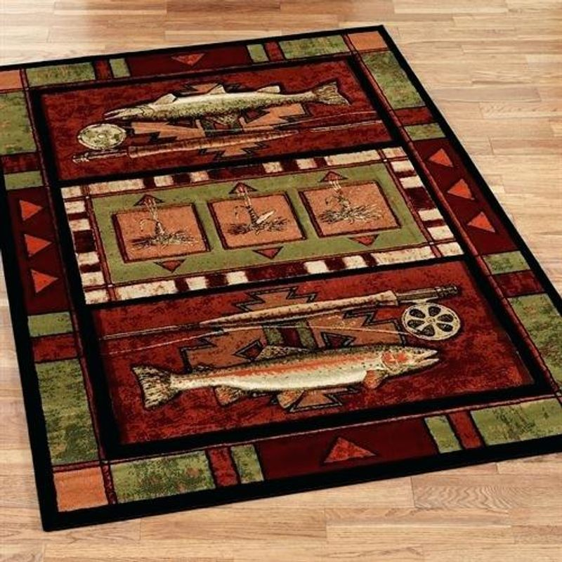 Just Go Fishing Trout Fish Rectangle Rug 5