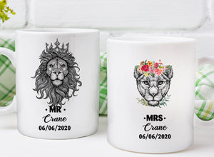 Lion Couple - Custom Name Mug Wedding Gift ,Wedding Anniversary Present Idea, Husband Gift, Wife Gift