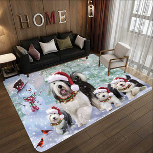 Memorial Winter With Old English Sheepdog Rectangle Rug