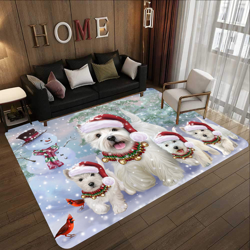 Memorial Winter With West Highland White Terrier Rectangle Rug