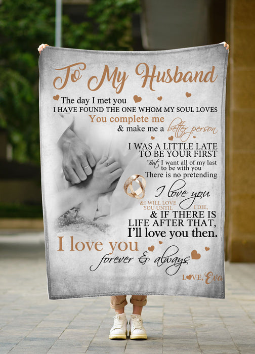 To my husband I love you forever and always Fleece blanket husband gift family gift birthday gift