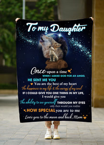To my daughter Wolf Fleece blanket wolf lover gift birthday gift family gift