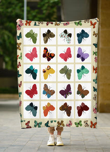 Colorful Butterfly Fleece blanket Butterfly lover gift birthday gift unique gift