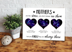 Custom personalized constellation map canvas prints wall art Mother's day gifts idea, night sky canvas Christmas, birthday presents for mom - Mothers Are Like Stars, Zodiac Star Map - PersonalizedWitch