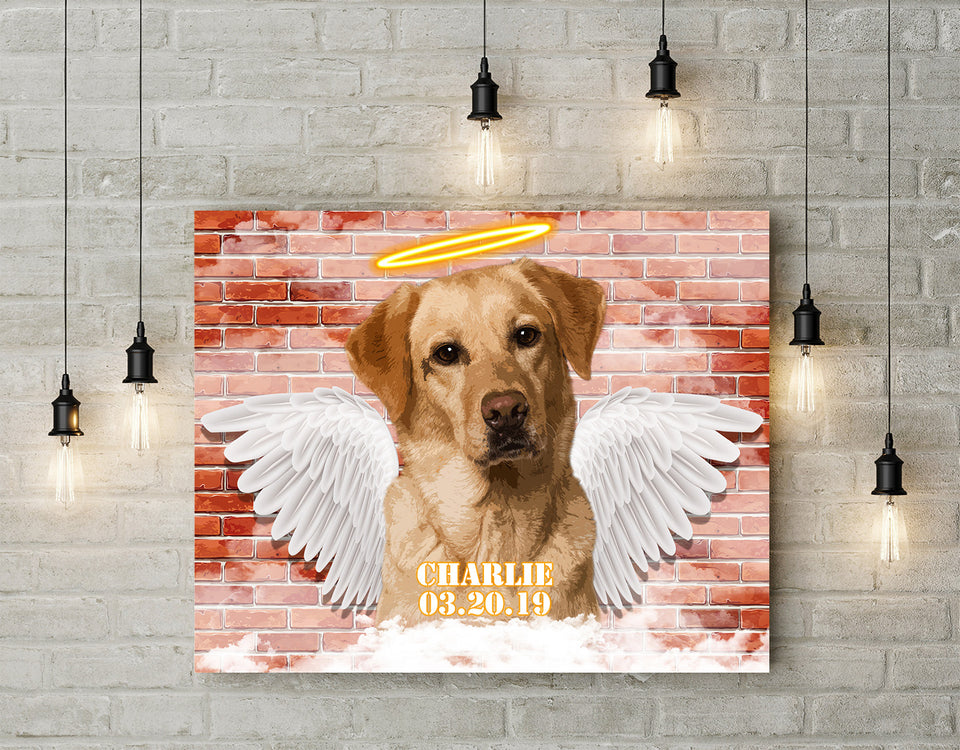 Custom personalized dog memorial photo to canvas Pet remembrance print wall art gift idea for dog mom dad pet lovers with pictures on - My Guardian Angel -