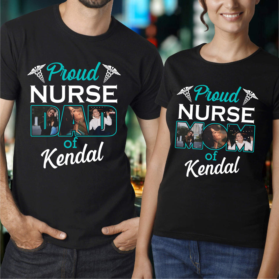Custom personalized photo T shirts printing Mother's day gifts idea, pictures on tee, Christmas, birthday presents for mom - Proud Nurse Mom - PersonalizedWitch