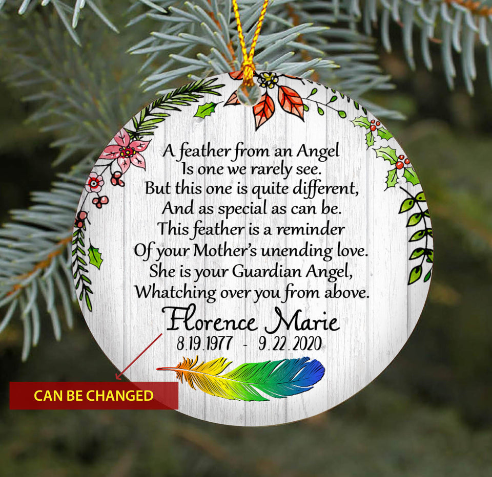 Feather From Angel TY2010 - Personalized Family Ornament Family Friends Memorial Gift Custom Christmas Accessories