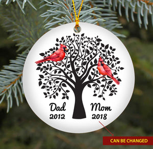 Mom & Dad Cardinal TY318 - Personalized Family Ornament Family Friends Memorial Gift Custom Christmas Accessories