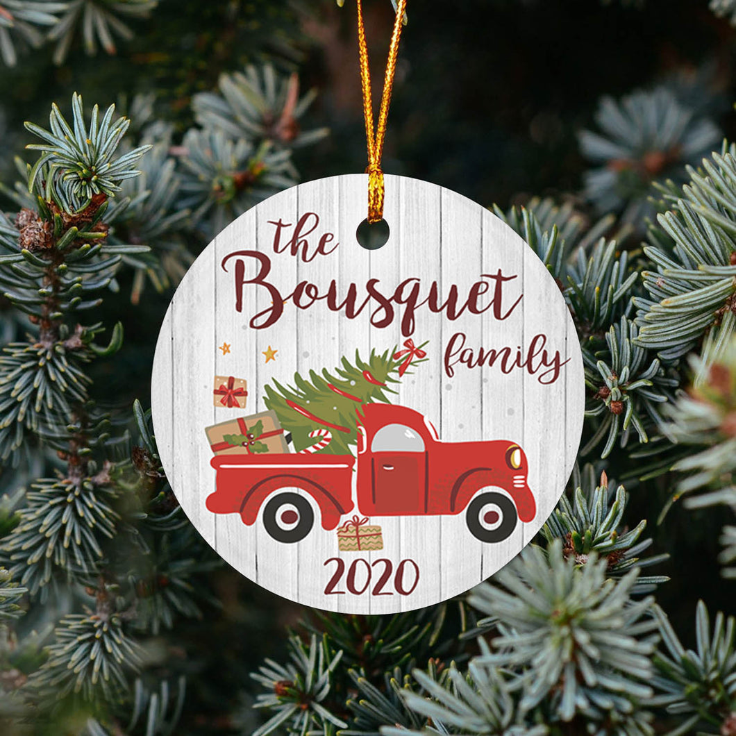 Red Truck Family TY309 - Personalized Family Ornament Friend Gift Custom Christmas Accessories