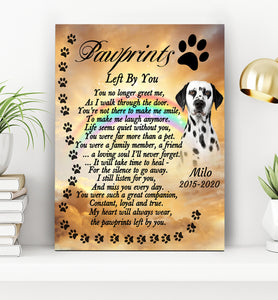 Custom personalized photo dog at memorial canvas print wall art Pet remembrance canvas gifts for dog mom dad pet lovers - Paw prints Left By You - Personalizedwitch