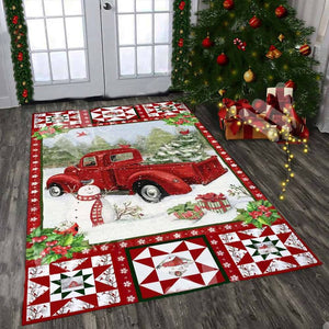 Red Truck Christmas Rectangle Rug 11