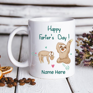 Happy Farter's Day Sloth - Personalized custom mug Father's Day gift mug Father gift idea family gift