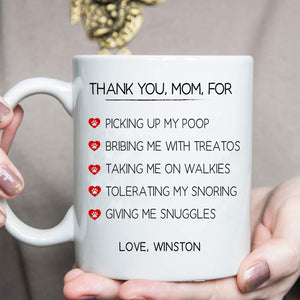 Thank You, Mom - Personalized custom dog mug cat mug Pet mug Mother gift idea dog lover gift cat lover gift