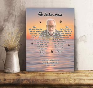 Custom personalized photo to canvas prints wall art Memorial remembrance gifts idea, pictures on canvas for family loved one - The Broken Chain - PersonalizedWitch