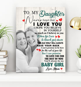 Custom personalized photo to canvas prints wall art Mother's day gifts idea, pictures on canvas Christmas, birthday presents for daughter & son - To My Daughter Never Forget That I love You - PersonalizedWitch