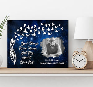 Custom personalized photo to canvas prints wall art Memorial remembrance gifts idea, pictures on canvas for family loved one - Your Wings Were Ready But My Heart Was Not - PersonalizedWitch