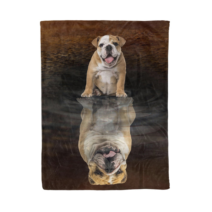 Fleece Blanket Mother's day Father's day unique gift ideas for mom & dad from daughter & son kids, meaningful birthday presents -  Bulldog Dreaming Fleece Blanket, Unique Gifts For Dog Lovers, Best Friend, Parents