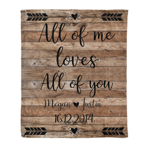 Custom personalized fleece blanket couple husband and wife gifts idea, Christmas, wedding anniversary birthday presents for loved one - All Of Me Loves All Of You - PersonalizedWitch