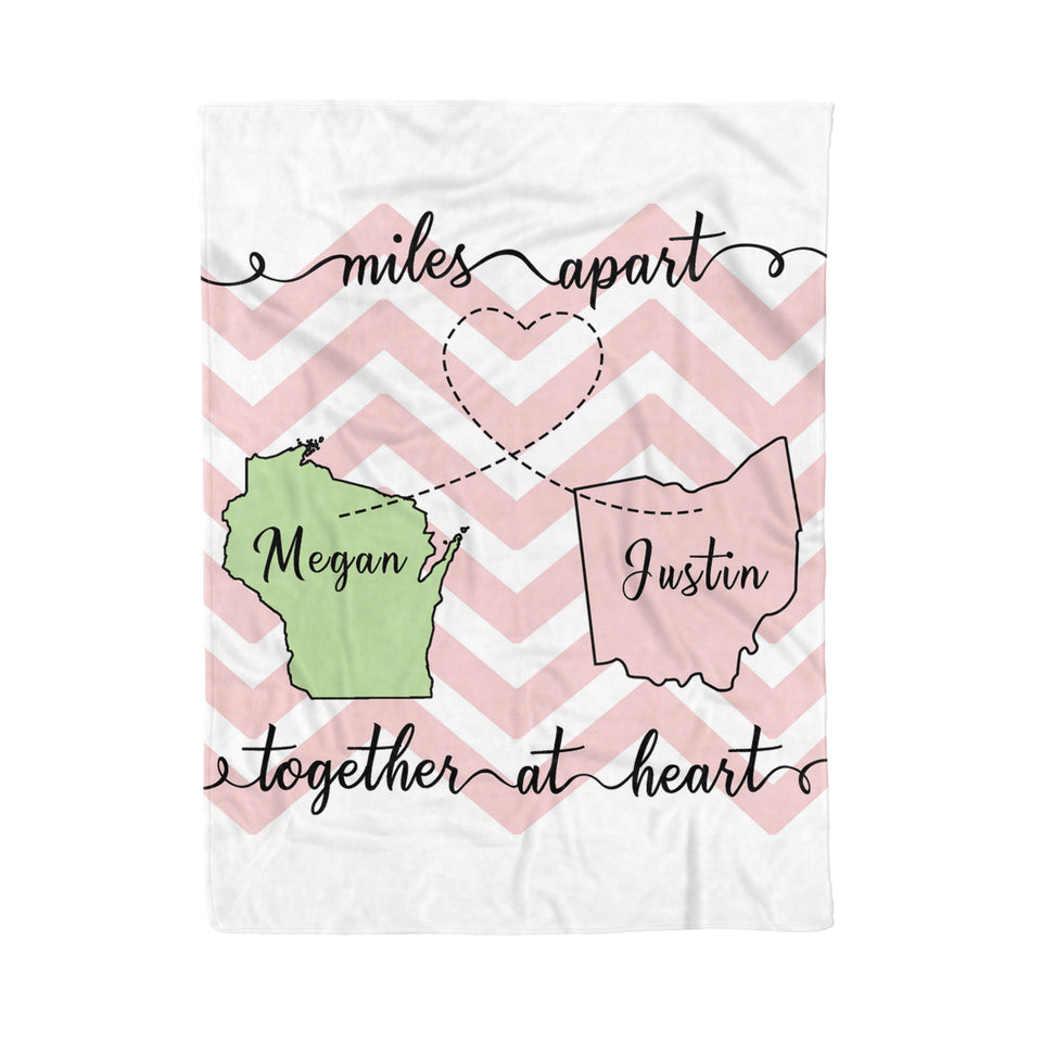 Custom personalized fleece blanket couple husband and wife gifts idea, Christmas, wedding anniversary birthday presents for loved one - Miles Apart But Together At Heart - PersonalizedWitch