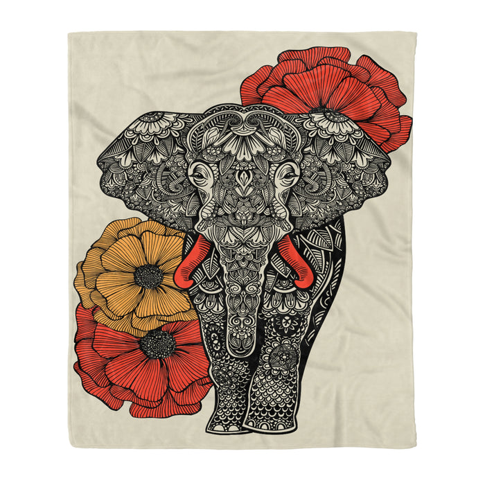 Fleece Blanket Mother's day Father's day unique gift ideas for mom & dad from daughter & son kids, meaningful birthday presents -  Elephant Flower Fleece Blanket elephant lover gift birthday present