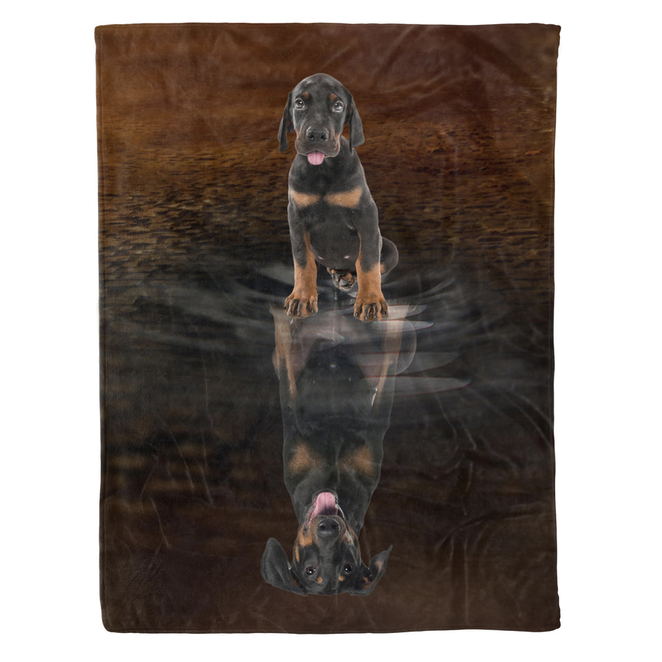 You Are Stronger Than You Think Doberman Pinscher - Dog fleece blanket dog lover gift idea pet lover gift