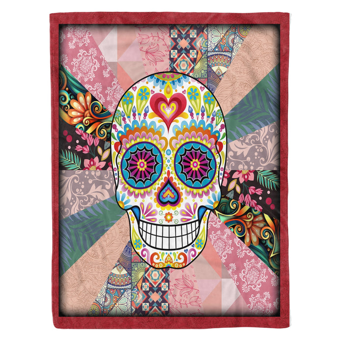 Fleece Blanket Mother's day Father's day unique gift ideas for mom & dad from daughter & son kids, meaningful birthday presents -  Day Of The Dead Skull - Skull fleece blanket skull lover gift day of the dead gift idea