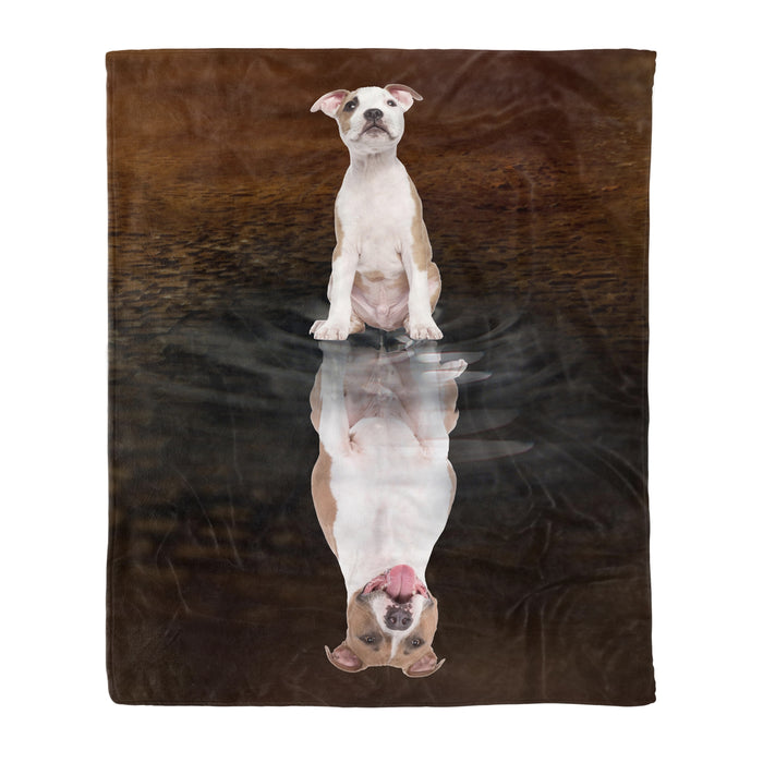 Fleece Blanket Mother's day Father's day unique gift ideas for mom & dad from daughter & son kids, meaningful birthday presents -  American Staffordshire Terrier Reflection Fleece Blanket -  Dog lovers, dog gift, birthday gift, pet, pet lovers animal