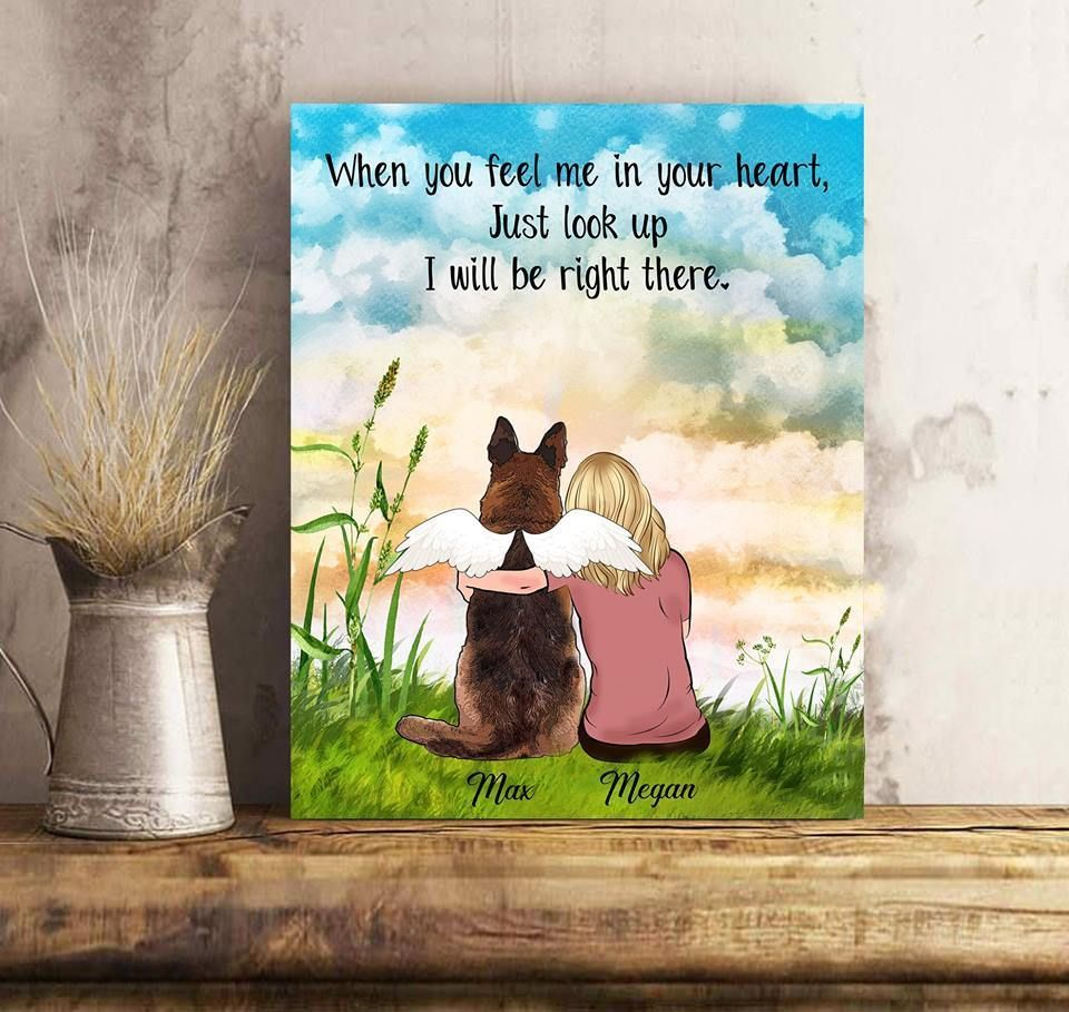 Custom personalized dog memorial canvas Pet remembrance print gift idea for dog mom dad pet lovers - I Will Be Right There - Personalizewitch