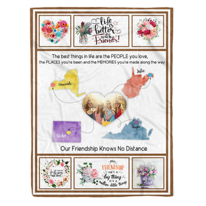 Custom Friendship Knows No Distance Fleece Blanket