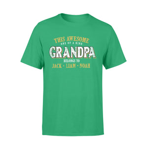 Custom personalized funny grandpa & dad Tee shirts printing father's day, birthday gift for world's best dad - One of A Kind Papa Belongs To - PersonalizedWitch