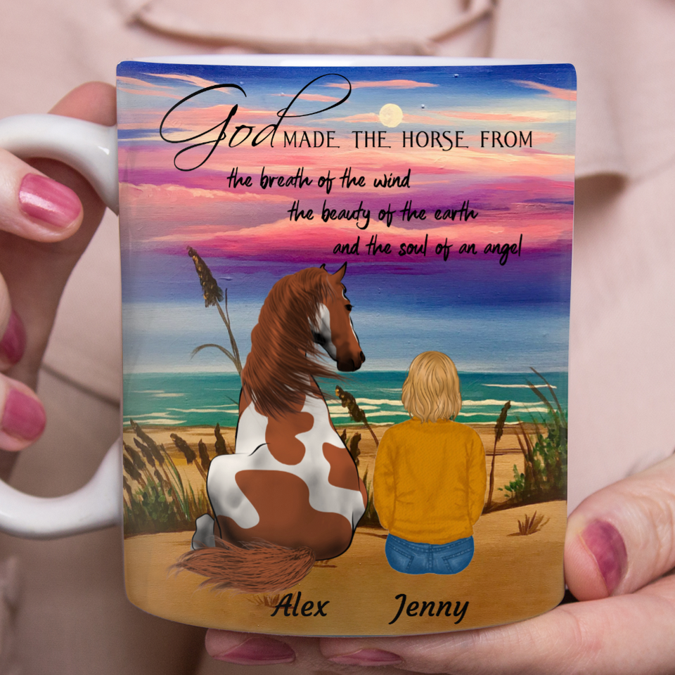 Horse From Earth Wind Angel - Personalized horse mug horse lover gift idea family holiday gift